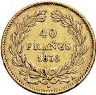 Photo numismatique  ARCHIVES VENTE 12 juin 2018 MODERNES FRANÇAISES LOUIS-PHILIPPE Ier (9 août 1830-24 février 1848)  374- 40 francs or, Paris 1838.