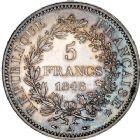Photo numismatique  ARCHIVES VENTE 12 juin 2018 MODERNES FRANÇAISES 2ème RÉPUBLIQUE (24 février 1848-2 décembre 1852)  382-  5 francs, Paris 1848.