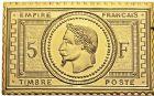Photo numismatique  ARCHIVES VENTE 12 juin 2018 MÉDAILLES MEDAILLES FRANCAISES ET ETRANGERES NAPOLEON III Timbre en or 479- Timbre en or, valeur 5 francs.
