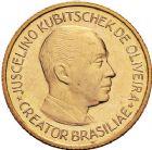 Photo numismatique  ARCHIVES VENTE 12 juin 2018 MÉDAILLES MEDAILLES FRANCAISES ET ETRANGERES BRESIL. Inauguration de Brasilia 481- Président Kubitschek. Médaille or, 21 avril 1960.