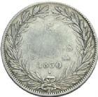 Photo numismatique  MONNAIES MODERNES FRANÇAISES LOUIS-PHILIPPE Ier (9 août 1830-24 février 1848)  5 francs sans le Ier.