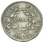 Photo numismatique  MONNAIES MODERNES FRANÇAISES LE CONSULAT (à partir du 24 décembre 1799-18 mai 1804) Bonaparte 1er Consul Quart de franc.