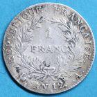 Photo numismatique  MONNAIES MODERNES FRANÇAISES BONAPARTE, 1er consul (24 décembre 1799-18 mai 1804)  Un franc.