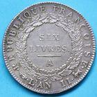 Photo numismatique  MONNAIES MODERNES FRANÇAISES LA CONVENTION (22 septembre 1792 - 26 octobre 1795)  Ecu de six livres.