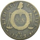 Photo numismatique  MONNAIES MODERNES FRANÇAISES LA CONVENTION (22 septembre 1792 - 26 octobre 1795)  2 sols à la balance.