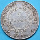 Photo numismatique  MONNAIES MODERNES FRANÇAISES BONAPARTE, 1er consul (24 décembre 1799-18 mai 1804)  5 francs.