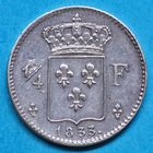 Photo numismatique  MONNAIES MODERNES FRANÇAISES HENRI V, prétendant (29 septembre 1820-1883)  Quart de franc.