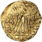 Photo numismatique  ARCHIVES VENTE 2009 -Coll B Chwartz 1 PEUPLES BARBARES FRANCS Epoque de THIERRY Ier (511-533), roi d'Austrasie 9- Triens au nom de Justin Ier (518-527)