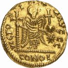 Photo numismatique  ARCHIVES VENTE 2009 -Coll B CHWARTZ 1 PEUPLES BARBARES FRANCS Epoque de THIERRY Ier (511-533), roi d'Austrasie 10- Solidus au nom « dégénéré » de Justinien Ier (527-565)