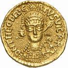 Photo numismatique  ARCHIVES VENTE 2009 -Coll B Chwartz 1 PEUPLES BARBARES FRANCS THÉODEBERT 1er (533 - 548), roi d'Austrasie 11- Solidus frappé après 540 à Bonna, Bonn (Allemagne)