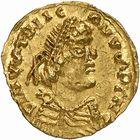 Photo numismatique  ARCHIVES VENTE 2009 -Coll B CHWARTZ 1 PEUPLES BARBARES FRANCS Monnayage Pseudo-impérial localisé 12- Triens au nom de Justinien Ier (527-565) frappé par les Francs à Lugdunum, Lyon (Rhône)