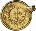 Photo numismatique  ARCHIVES VENTE 2009 -Coll B Chwartz 1 PEUPLES BARBARES MEROVINGIENS ROIS CLOTAIRE II (613-629) 17- Solidus monté en bijou, frappé à Massalia, Marseille (Bouches-du-Rhône)