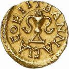 Photo numismatique  ARCHIVES VENTE 2009 -Coll B Chwartz 1 PEUPLES BARBARES MEROVINGIENS ROIS CARIBERT, roi d'Aquitaine (629-632) 18- Triens frappé à Bannaciaco, Banassac (Lozère)