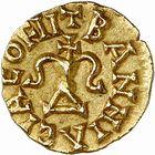 Photo numismatique  ARCHIVES VENTE 2009 -Coll B Chwartz 1 PEUPLES BARBARES MEROVINGIENS ROIS CARIBERT, roi d'Aquitaine (629-632) 19- Triens frappé à Bannaciaco, Banassac (Lozère)