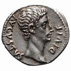 Photo numismatique  MONNAIES EMPIRE ROMAIN OCTAVE-AUGUSTE. (Empereur en 29 - Auguste 27 av.-14 ap. JC)  Denier frappé à Lyon, en 15 avant J.C.