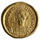 Photo numismatique  MONNAIES PEUPLES BARBARES OSTROGOTHS Epoque de THEODORIC le Gd (493-526) Solidus au nom d'Anastase.