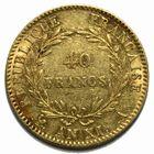 Photo numismatique  MONNAIES MODERNES FRANÇAISES BONAPARTE, 1er consul (24 décembre 1799-18 mai 1804)  40 francs or.