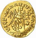 Photo numismatique  ARCHIVES VENTE 2010 -Amateur B 1 et B Chawartz 2 PEUPLES BARBARES OSTROGOTHS Epoque de THEODORIC le Gd (493-526) 2- Tremissis au nom d'Anastase (491-518), émis à Rome.