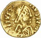 Photo numismatique  ARCHIVES VENTE 2010 -Amateur B 1 et B Chawartz 2 PEUPLES BARBARES VISIGOTHS  6- Tremissis au nom de Justin Ier (518-527), émis à Narbonne ?