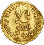 Photo numismatique  ARCHIVES VENTE 2010 -Amateur B 1 et B CHWARTZ 2 PEUPLES BARBARES VISIGOTHS  8- Tremissis au nom de Justinien (527-565), émis à Barcelone.