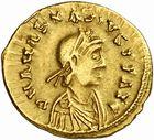Photo numismatique  ARCHIVES VENTE 2010 -Amateur B 1 et B Chawartz 2 PEUPLES BARBARES BURGONDES Monnayage de GONDEBAUD (473-516) 10- Tremissis au nom d'Anastase (491-518), émis avant 507.