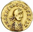 Photo numismatique  ARCHIVES VENTE 2010 -Amateur B 1 et B Chawartz 2 PEUPLES BARBARES BURGONDES  12- Tremissis au nom d'Anastase (491-518), émis avant 507.