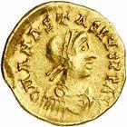 Photo numismatique  ARCHIVES VENTE 2010 -Amateur B 1 et B Chawartz 2 PEUPLES BARBARES BURGONDES Monnayage de GONDEBAUD (473-516) 14- Tremissis au nom d'Anastase (491-518), émis après 507 à Chalon.