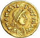 Photo numismatique  ARCHIVES VENTE 2010 -Amateur B 1 et B Chawartz 2 PEUPLES BARBARES BURGONDES  15- Tremissis au nom d'Anastase (491-518), émis après 507.