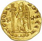 Photo numismatique  ARCHIVES VENTE 2010 -Amateur B 1 et B Chawartz 2 PEUPLES BARBARES BURGONDES Monnayage de GONDEBAUD (473-516) 16- Solidus au nom d'Anastase (491-518), émis après 507 à Lyon.