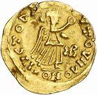 Photo numismatique  ARCHIVES VENTE 2010 -Amateur B 1 et B Chawartz 2 PEUPLES BARBARES BURGONDES Monnayage de GONDEBAUD (473-516) 17- Tremissis au nom d'Anastase (491-518), émis après 507 à Lyon.
