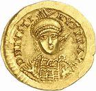 Photo numismatique  ARCHIVES VENTE 2010 -Amateur B 1 et B Chawartz 2 PEUPLES BARBARES BURGONDES Monnayage de SIGISMOND (516-524) 21- Solidus au nom de Justin Ier (518-527).