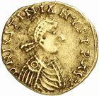 Photo numismatique  ARCHIVES VENTE 2010 -Amateur B 1 et B Chawartz 2 PEUPLES BARBARES BURGONDES Monnayage de GONDEMAR (524-534) 26- Tremissis à la croisette au nom de Justinien Ier (527-565), émis à Lyon, seconde officine.