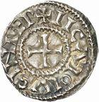 Photo numismatique  ARCHIVES VENTE 2010 -Amateur B 1 et B CHWARTZ 2 CAROLINGIENS CHARLES, empereur (875-877 - 884-887)  66- Denier de Chalon-sur-Saône (Saône-et-Loire), émis après 875.