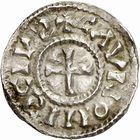 Photo numismatique  ARCHIVES VENTE 2010 -Amateur B 1 et B Chawartz 2 CAROLINGIENS CHARLES, empereur (875-877 - 884-887)  70- Denier de Chalon-sur-Saône (Saône-et-Loire), émis après 875.