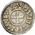 Photo numismatique  ARCHIVES VENTE 2010 -Amateur B 1 et B Chawartz 2 CAROLINGIENS CHARLES, empereur (875-877 - 884-887)  71- Denier de Chalon-sur-Saône (Saône-et-Loire), émis après 875.