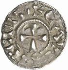 Photo numismatique  ARCHIVES VENTE 2010 -Amateur B 1 et B Chawartz 2 CAROLINGIENS LOTHAIRE II (954-986)  76- Denier de Chalon-sur-Saône (Saône-et-Loire).