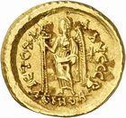 Photo numismatique  ARCHIVES VENTE 2010 -Amateur B 1 et B Chawartz 2 PEUPLES BARBARES OSTROGOTHS Epoque d'ODOACRE (476-493) 119- Solidus au nom de Léon Ier (457-474), frappé à Rome ?