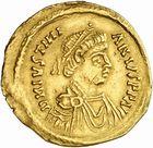 Photo numismatique  ARCHIVES VENTE 2010 -Amateur B 1 et B CHWARTZ 2 PEUPLES BARBARES LOMBARDS  127-Tremissis au nom de Justinien Ier (527-565).