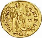 Photo numismatique  ARCHIVES VENTE 2010 -Amateur B 1 et B Chawartz 2 PEUPLES BARBARES VISIGOTHS Epoque de THEODORIC Ier (418-451) 138- Solidus au nom d'Honorius (393-423), émis à Arles ( ?) vers 418-423.