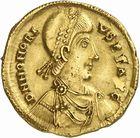 Photo numismatique  ARCHIVES VENTE 2010 -Amateur B 1 et B CHWARTZ 2 PEUPLES BARBARES VISIGOTHS Epoque de THEODORIC Ier (418-451) 139- Solidus au nom d'Honorius (393-423)