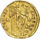 Photo numismatique  ARCHIVES VENTE 2010 -Amateur B 1 et B CHWARTZ 2 PEUPLES BARBARES VISIGOTHS Epoque de THEODORIC Ier (418-451) 140- Solidus au nom d'Honorius (393-423).