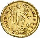 Photo numismatique  ARCHIVES VENTE 2010 -Amateur B 1 et B CHWARTZ 2 PEUPLES BARBARES VISIGOTHS Epoque de THEODORIC Ier (418-451) 141- Solidus au nom d'Honorius (393-423).