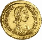 Photo numismatique  ARCHIVES VENTE 2010 -Amateur B 1 et B CHWARTZ 2 PEUPLES BARBARES VISIGOTHS Epoque de THEODORIC Ier, THORISMOND et THEODORIC II (entre 419 et 455) 143- Solidus au nom de Valentinien III (439-455).