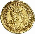 Photo numismatique  ARCHIVES VENTE 2010 -Amateur B 1 et B Chawartz 2 PEUPLES BARBARES VISIGOTHS Epoque de THEODORIC Ier, THORISMOND et THEODORIC II (entre 419 et 455) 144- Tremissis au nom de Valentinien III (423-455), émis vers 439-455.