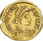 Photo numismatique  ARCHIVES VENTE 2010 -Amateur B 1 et B CHWARTZ 2 PEUPLES BARBARES VISIGOTHS Epoque d'EURIC (466-484), roi de Toulouse 148- Solidus au nom de Libius Severus (461-466).