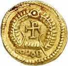 Photo numismatique  ARCHIVES VENTE 2010 -Amateur B 1 et B CHWARTZ 2 PEUPLES BARBARES VISIGOTHS Epoque d'EURIC (466-484), roi de Toulouse 150- Tremissis au nom d'Anthème (467-472)