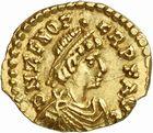 Photo numismatique  ARCHIVES VENTE 2010 -Amateur B 1 et B Chawartz 2 PEUPLES BARBARES VISIGOTHS Epoque d'EURIC (466-484), roi de Toulouse 152-Tremissis au nom de Zénon (474-491), imitation du monnayage de Julius Népos à Rome.