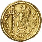 Photo numismatique  ARCHIVES VENTE 2010 -Amateur B 1 et B Chawartz 2 PEUPLES BARBARES VISIGOTHS Epoque d'EURIC (466-484), roi de Toulouse 153- Tremissis au nom de Valentinien III (439-455), émis vers 475.