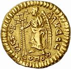 Photo numismatique  ARCHIVES VENTE 2010 -Amateur B 1 et B CHWARTZ 2 PEUPLES BARBARES VISIGOTHS Epoque d'EURIC (466-484), roi de Toulouse 154- Tremissis au nom de Zénon (474-491), émis après 475 à Clermont ?