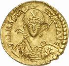 Photo numismatique  ARCHIVES VENTE 2010 -Amateur B 1 et B Chawartz 2 PEUPLES BARBARES BURGONDES Monnayage de GONDEBAUD (473-516) 205- Solidus au nom d'Anastase (491-518), émis avant 507
